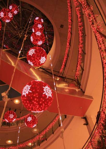 red christmas balls from ceiling