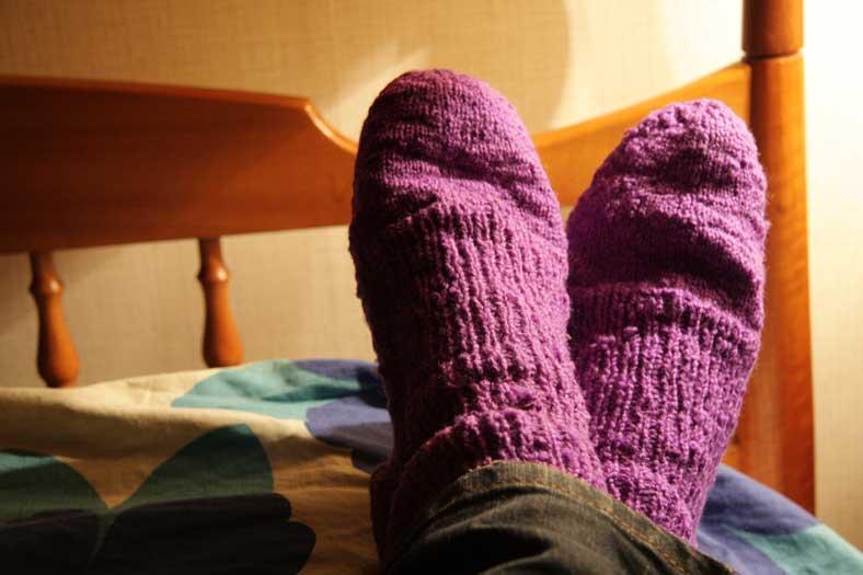 socks on the feet
