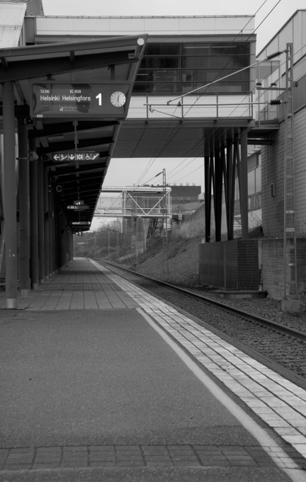 black and white train track
