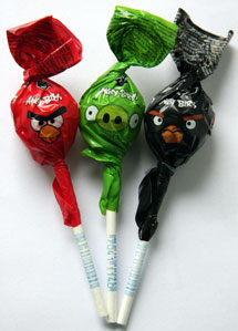 three angry bird lollipops