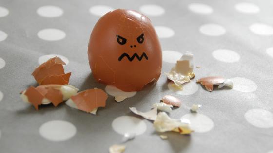 angry broken egg shell