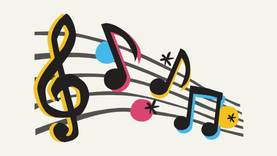 illustrated sheet music notes