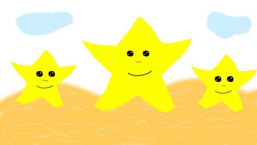 stars on a beach