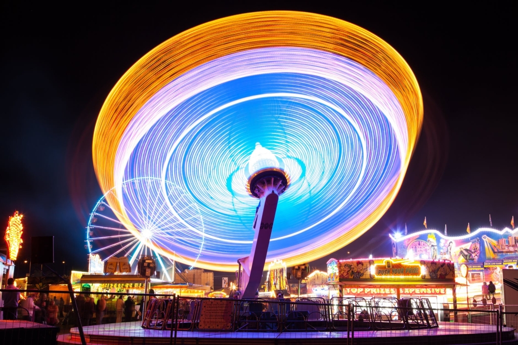 fast moving carousel with lights