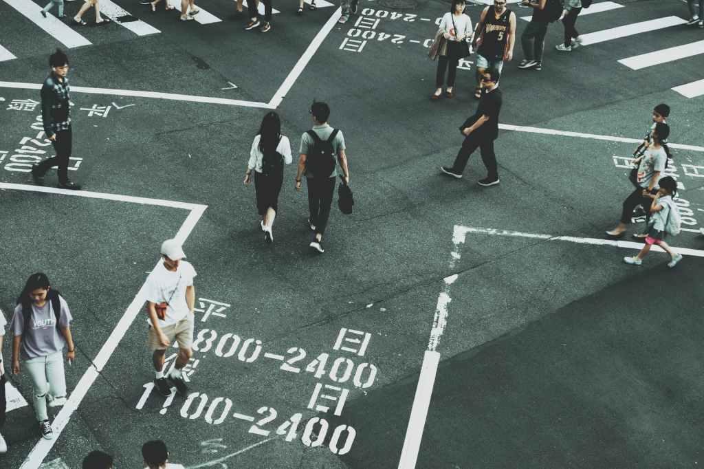 people on crossroad